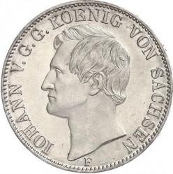 錢幣 > 1聯邦塔勒, 1857-1859 - Saxony  (Only denomination text on reverse) - obverse