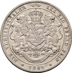 Moneta > 1vereinsthaler, 1861-1871 - Sassonia  (Stemma con leoni sul rovescio) - reverse