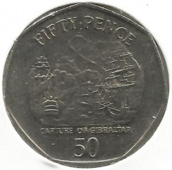 Moneta > 50pence, 2004-2005 - Gibilterra  (300° anniversario - Cattura di Gibilterra) - obverse
