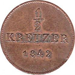 Кованица > ½крајцера, 1840-1856 - Virtemberg  - reverse