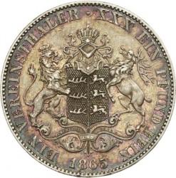 Кованица > 1вереиншталер, 1865 - Virtemberg  (Small antlers) - reverse