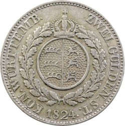 Moneta > 2guldena, 1824 - Wirtembergia  (Duża głowa) - reverse