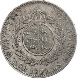 Кованица > 2гулдена, 1824 - Virtemberg  (Small head) - reverse