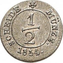 Кованица > ½крајцера, 1824-1837 - Virtemberg  - reverse