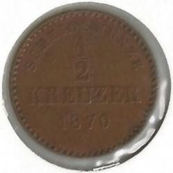 Кованица > ½крајцера, 1865-1872 - Virtemberg  - reverse