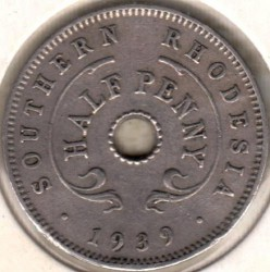 Coin > ½penny, 1938-1939 - Southern Rhodesia  - reverse