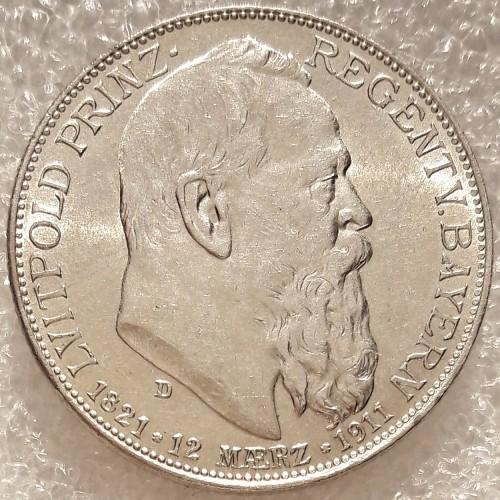 2 Mark 1911 Prinzregent Luitpold Deutsches Kaiserreich Münzen