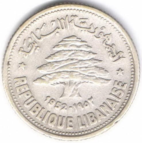 Coin 50 Piastres 1952 Lebanon Obverse