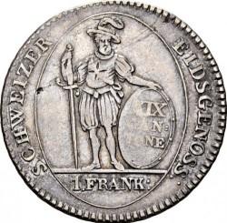 Кованица > 1франак, 1812 - Кантони Швајцарске  - reverse