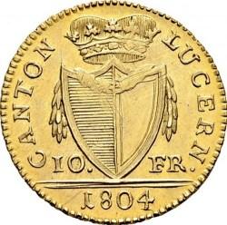 Монета > 10франка, 1804 - Кантони на Швейцария  - obverse
