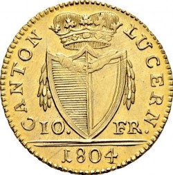 Монета > 10франка, 1804 - Кантони на Швейцария  - reverse