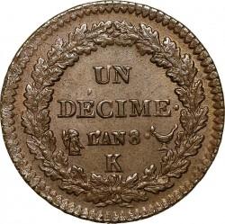Münze > 1Décime, 1795-1800 - Frankreich  - reverse