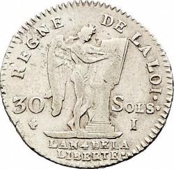 "Moneta > 30soles, 1791-1793 - Francia  (Dicitura ""ROI DES FRANÇOIS"") - reverse"