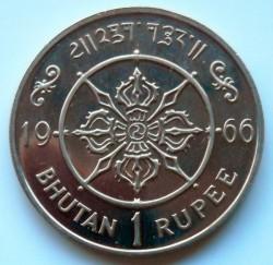 Mynt > 1rupee, 1966 - Bhutan  (40th Anniversary - Accession of Jigme) - reverse