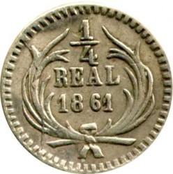 Munt > ¼real, 1859-1869 - Guatemala  - reverse