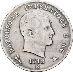 Moneta > 5lirów, 1812 - Włochy  - obverse