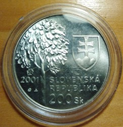 Moneta > 200corone, 2001 - Slovacchia  (80° anniversario - Nascita di Alexander Dubček) - reverse