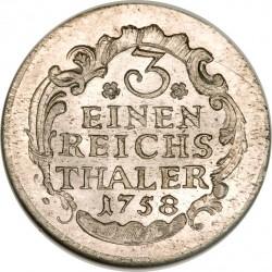 Moneda > ⅓reichsthaler, 1758-1759 - Prusia  - reverse