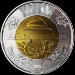 Coin > 2dollars, 2018 - Canada  (100th Anniversary - End of the First World War) - reverse