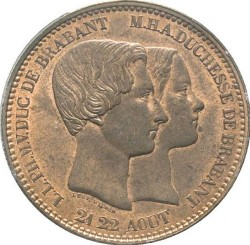 Moneta > 10 centesimi, 1853 - Belgio  (Marriage of The Duke) - reverse