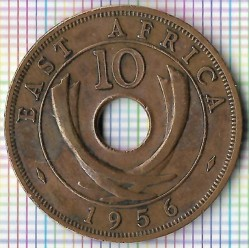 Moneda > 10cents, 1956 - Àfrica Oriental Britànica  - reverse