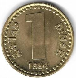 "Moneta > 1dinar, 1994 - Jugosławia  (""ДИНАР DINAR"" /kolor żółty/) - obverse"