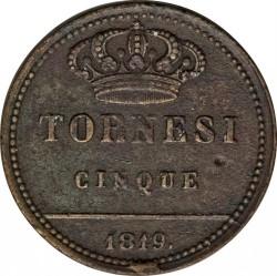 Кованица > 5tornesi, 1819-1820 - Две Сицилије  - reverse