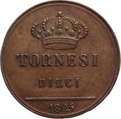 Кованица > 10tornesi, 1825 - Две Сицилије  - reverse