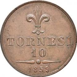 Кованица > 10tornesi, 1859 - Две Сицилије  (Lily on reverse) - reverse