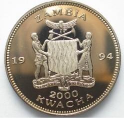 Moneda > 2000kwacha, 1994 - Zambia  (1994 FIFA World Cup /Winner Brazil/) - obverse