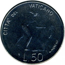 Minca > 50lire, 1983 - Vatikán  (Banishment of Adam and Eve) - obverse
