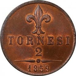 Кованица > 2tornesi, 1859 - Две Сицилије  (Lily on reverse) - reverse