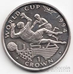 Moneta > 1corona, 1994 - Gibilterra  (XV Coppa del Mondo FIFA, Stati Uniti 1994 - Portiere e attaccante) - reverse
