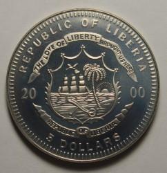 Moneta > 5dolarów, 2000 - Liberia  (Przyroda Ameryki Północnej - Bielik amerykański) - obverse