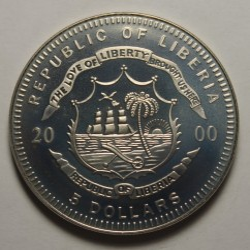 Moneta > 5dolarów, 2000 - Liberia  (Przyroda Ameryki Północnej - Bielik amerykański) - reverse