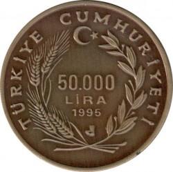 Moneta > 50.000lir, 1995 - Turcja  (Zagrożone gatunki - Żółw) - obverse