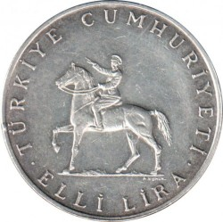 Moneta > 50lir, 1972 - Turcja  (50 rocznica - Bitwa pod Dumlupinar) - obverse