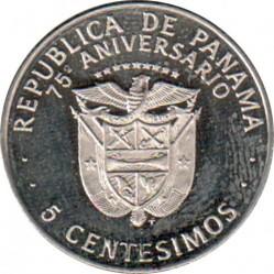 Moneta > 5centésimos, 1978 - Panama  (75° anniversario dell'indipendenza) - obverse