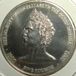 Coin > 5pounds, 2002 - Guernsey  (Queen Elizabeth The Queen Mother) - reverse