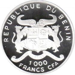 Moneda > 1000francos, 2001 - Benín  (World Cup Soccer - UK 1966) - obverse