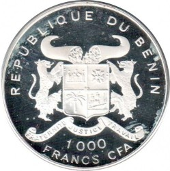 Moneda > 1000francos, 1992 - Benín  (World Cup Soccer - USA 1994) - obverse
