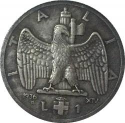 Moneta > 1lira, 1936 - Italija  - reverse