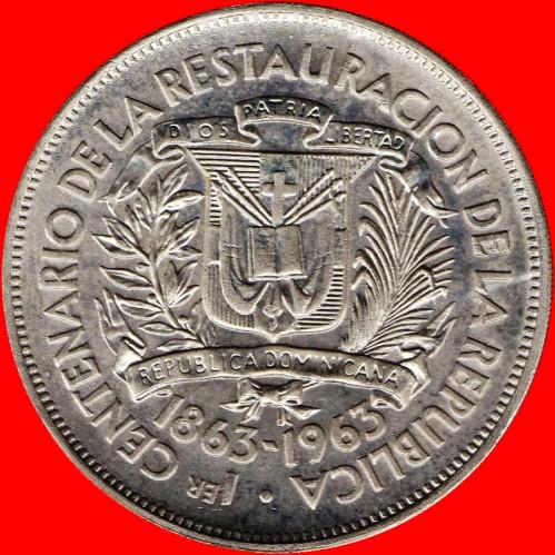 1963 Dominican Republic 1 Peso NICE BRIGHT WHITE CHOICE BU 1 COIN