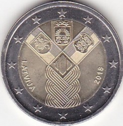 Монета > 2євро, 2018 - Латвія  (100-та річниця - Держави Балтики) - reverse