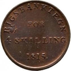 Кованица > 4skilling, 1815 - Данска  - reverse