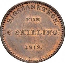 Кованица > 6skilling, 1813 - Данска  - reverse