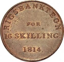 Монета > 16скилинга, 1814 - Дания  - reverse