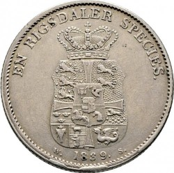 سکه > 1اسپسیدالر, 1820-1839 - دانمارک  - reverse