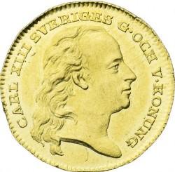 Münze > 1Dukaten, 1810 - Schweden   (Arms of province of Dalarna below chain) - obverse