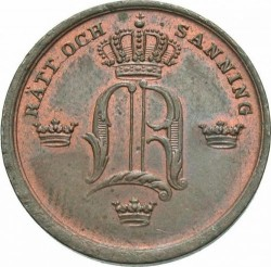 Moneta > ⅓skillingbanco, 1844-1855 - Szwecja  - obverse